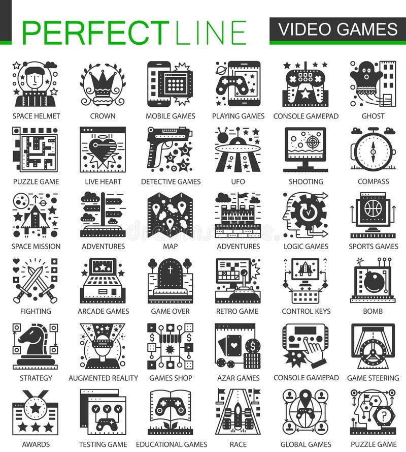 De vector geplaatste pictogrammen van het Videospelletjes klassieke zwarte miniconcept en infographic symbolen stock illustratie