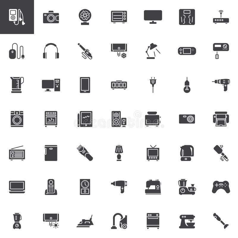 De vector geplaatste pictogrammen van huistoestellen stock illustratie