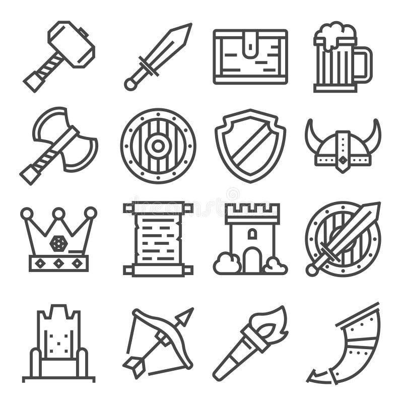 De vector geplaatste pictogrammen van de ridder middeleeuwse geschiedenis stock illustratie