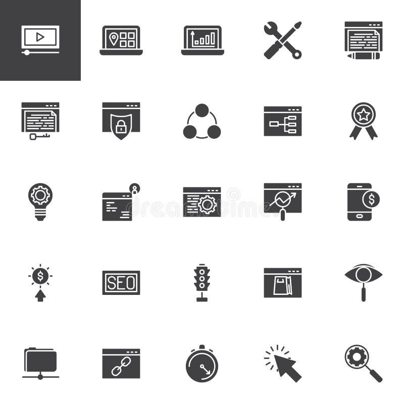 De vector geplaatste pictogrammen van de zoekmachineoptimalisering stock illustratie