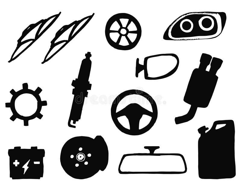 De vector geplaatste silhouetten van autodelen Geïsoleerde voorwerpen vector illustratie