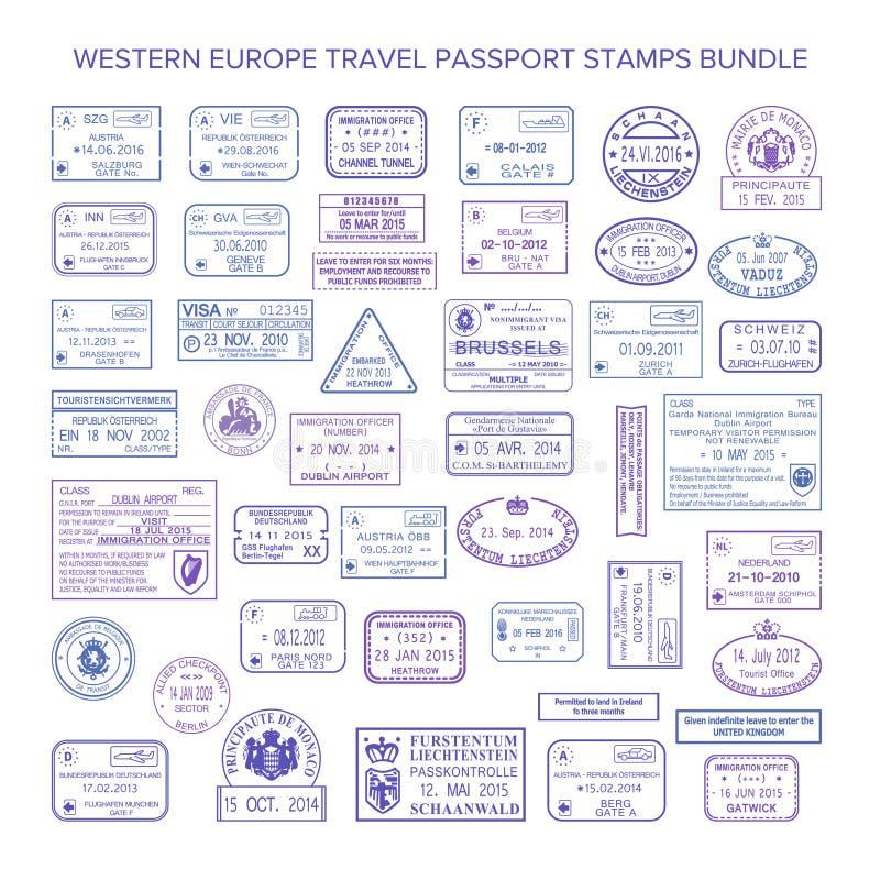 De vector geplaatste zegels van het de reisvisum van westelijk Europa gemeenschappelijke vector illustratie