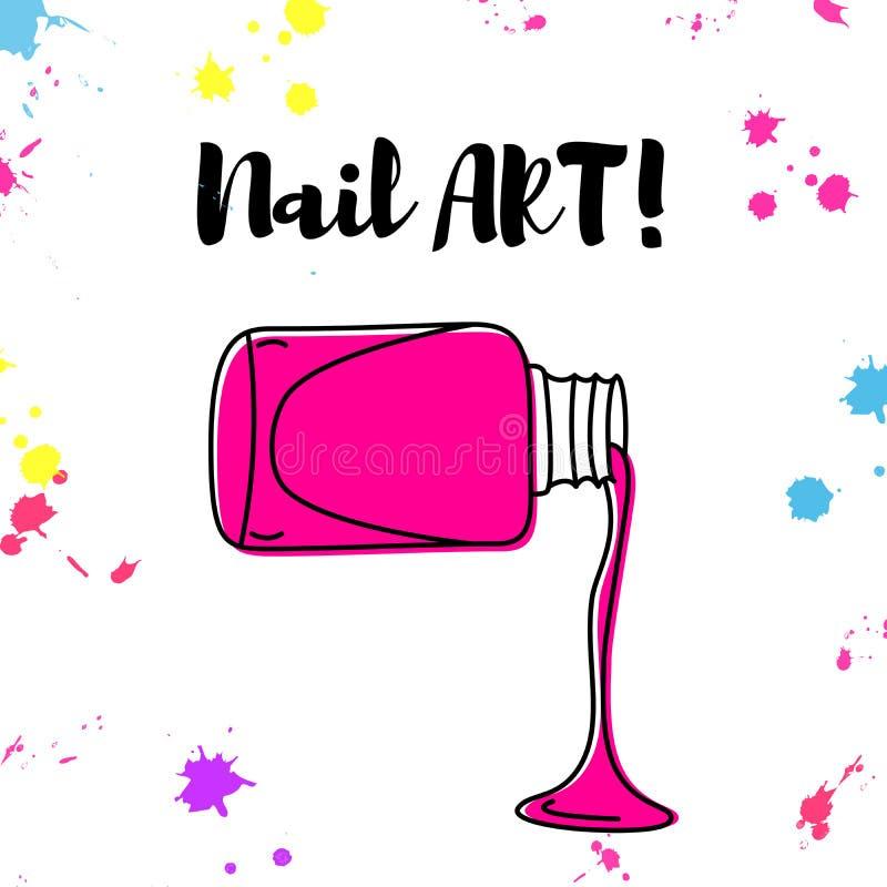 De vector getrokken affiche van de nagellakmorserij hand stock illustratie
