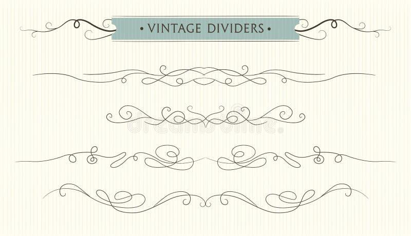 De vector getrokken hand bloeit, tekstverdeler, grafisch ontwerp eleme royalty-vrije illustratie