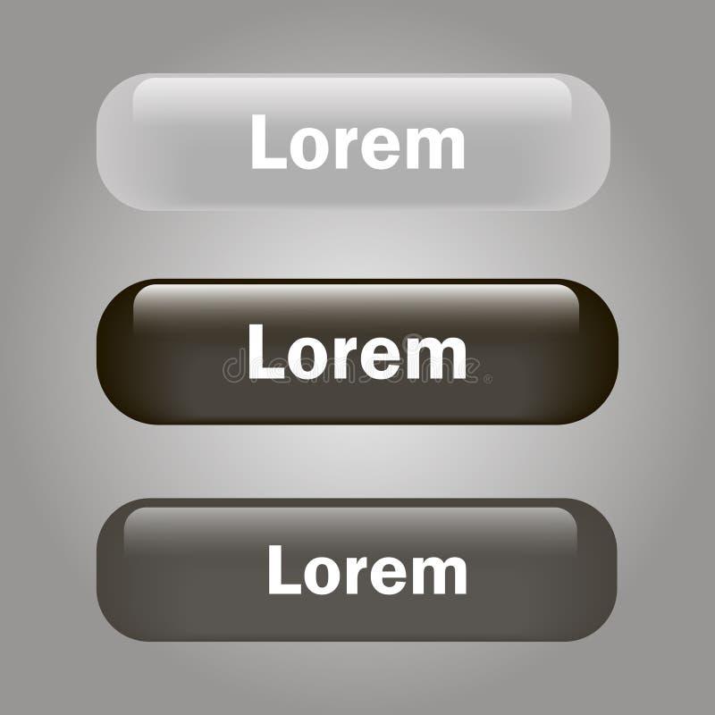 De vector glanzende zwart en grijze knoop van het pictogramglas vector illustratie