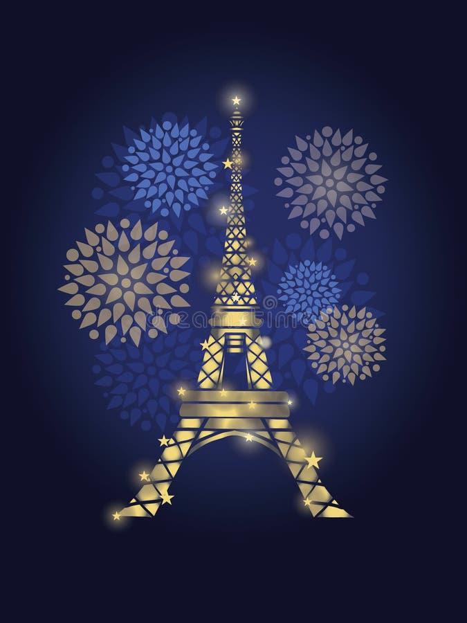 De vector Gloeiende die Toren van Eiffel door Vuurwerk in het Silhouet van Parijs bij Nacht wordt omringd Frans Oriëntatiepunt op stock illustratie