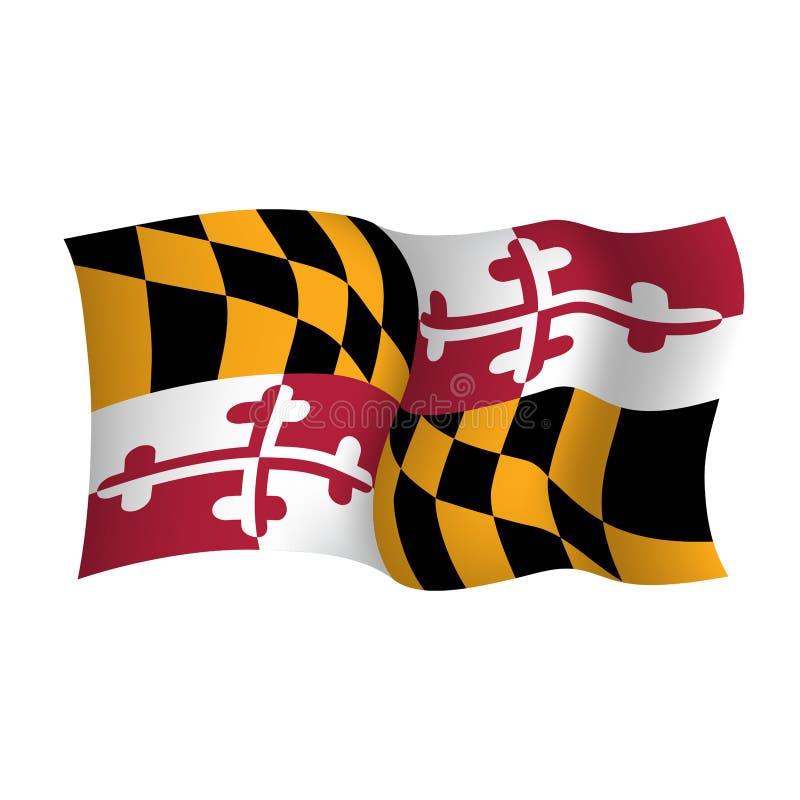 De vector golvende vlag van Maryland Het symbool van de staat van de V.S. Vector illustratie royalty-vrije illustratie