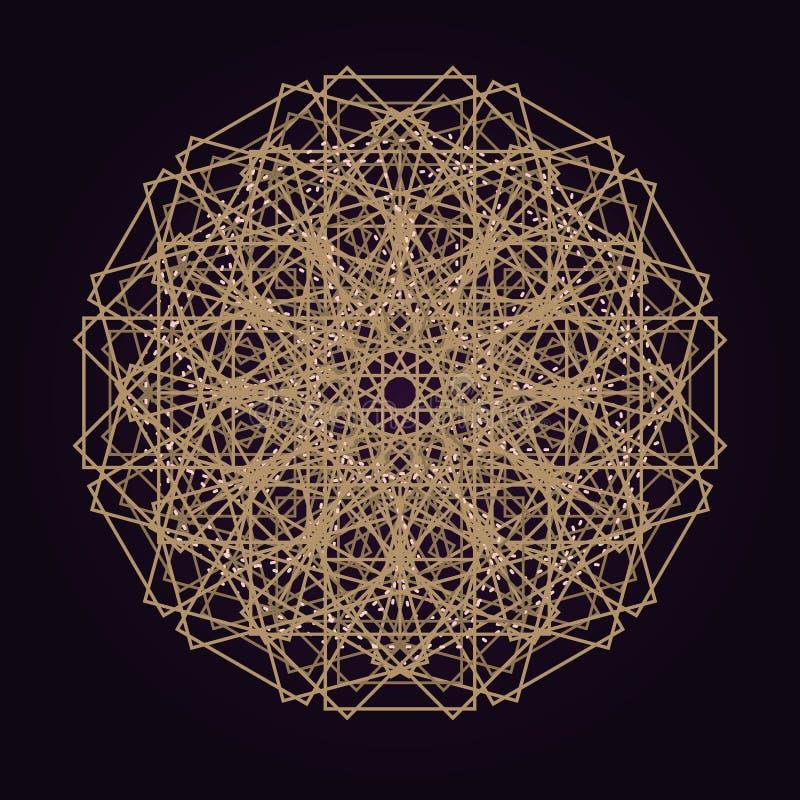 de vector gouden abstracte illustratie van de mandala heilige meetkunde isoleerde donkere achtergrond vector illustratie