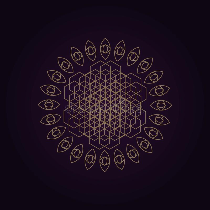 de vector gouden abstracte illustratie van de mandala heilige meetkunde isoleerde donkere achtergrond royalty-vrije illustratie