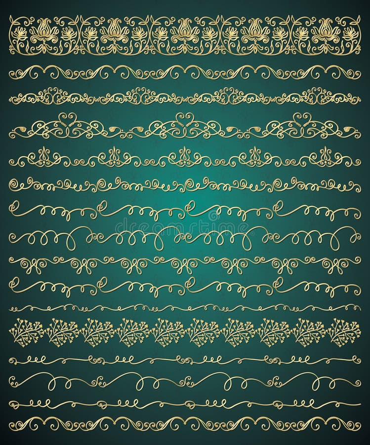 De vector Gouden Hand schetste Naadloze Grenzen royalty-vrije illustratie