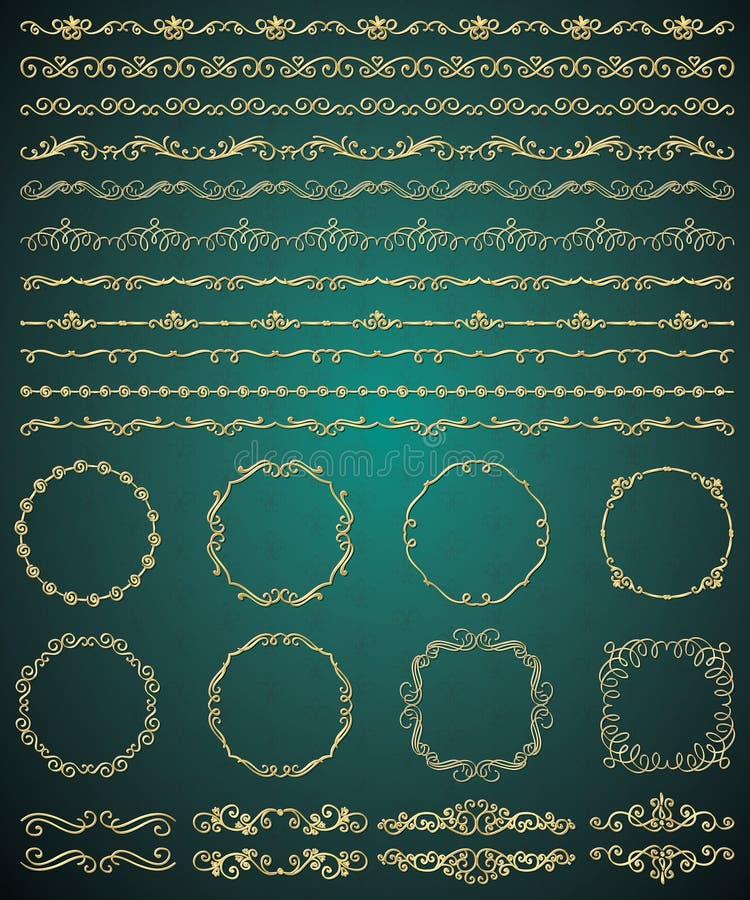 De vector Gouden Hand schetste Naadloze Grenzen vector illustratie