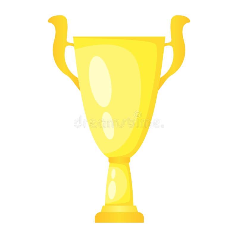 De vector gouden kop van de trofeekampioen Kampioenschapsprijs voor eerste plaats royalty-vrije illustratie