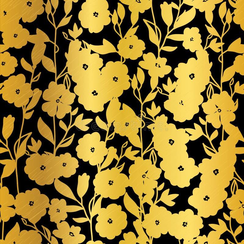De vector Gouden Zwarte Achtergrond van het de Kimono Naadloze Patroon van Bloemenbloesems stock illustratie