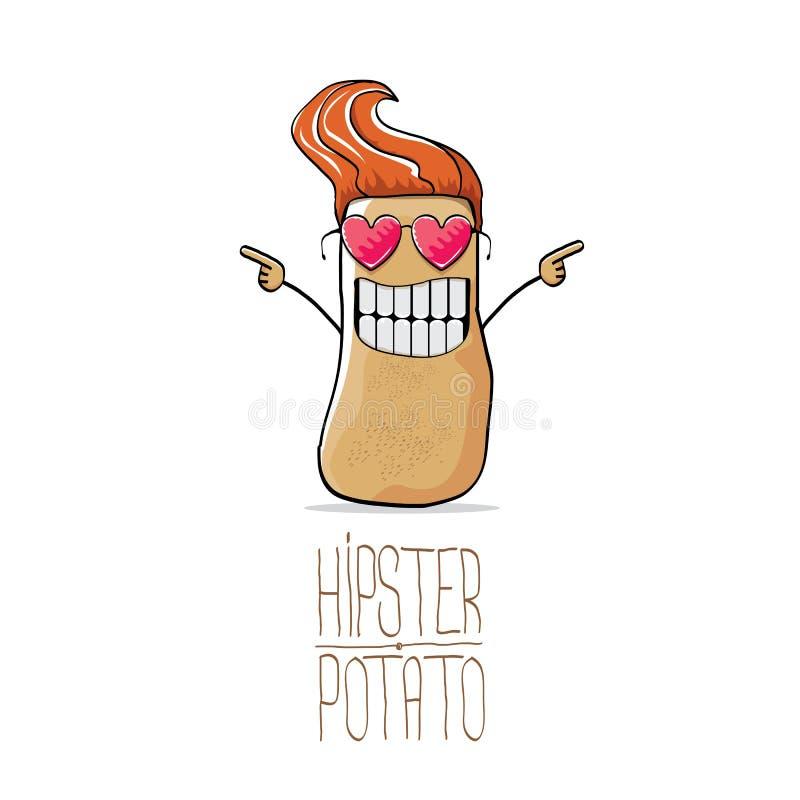 De vector grappige aardappel van beeldverhaal leuke bruine hipster stock illustratie