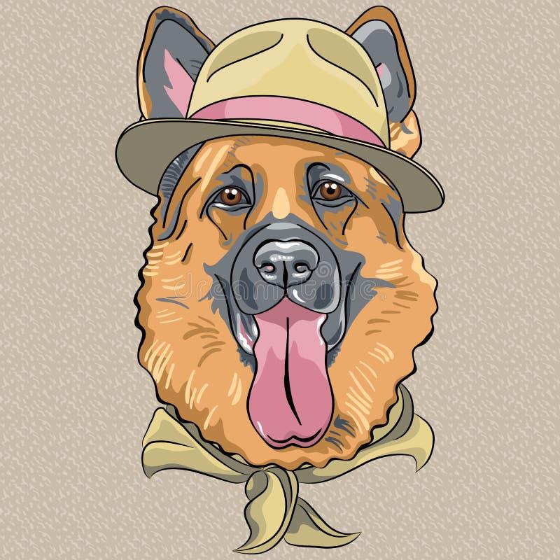 De vector grappige Duitse herder van de beeldverhaal hipster hond royalty-vrije illustratie