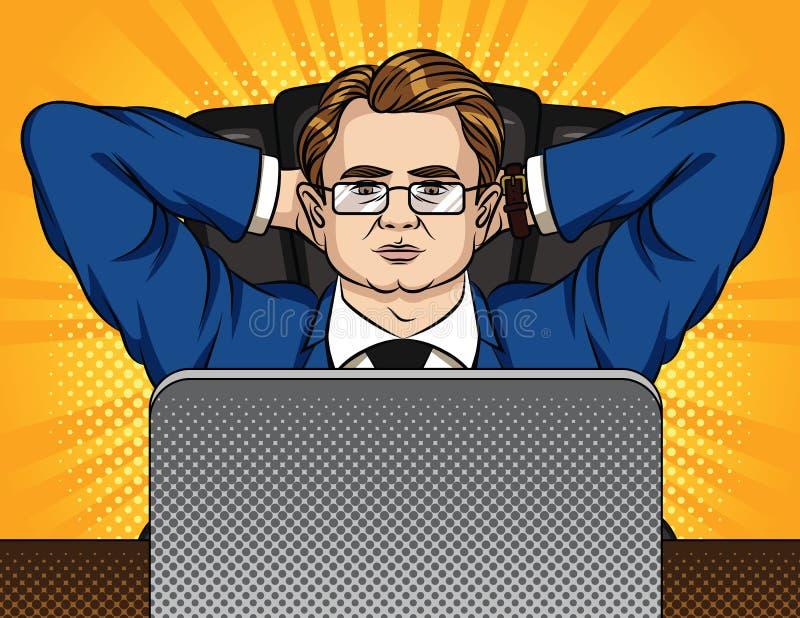De vector grappige illustratie van de pop-artstijl van een chef- zitting op de stoel in bureau stock illustratie