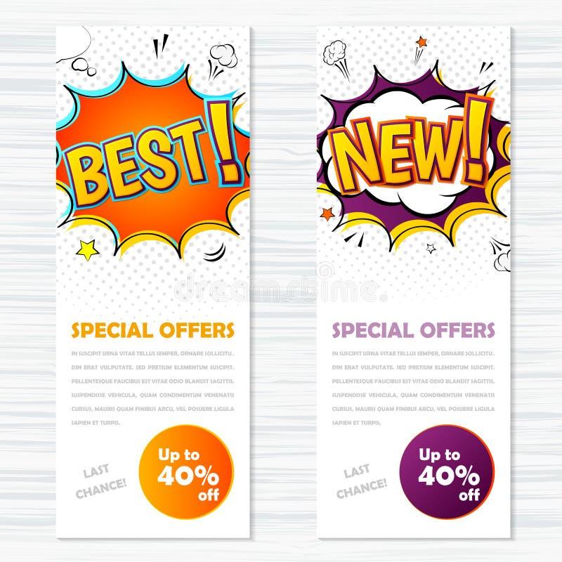 De vector grappige stijl van malplaatjesbanners Best en nieuw royalty-vrije illustratie