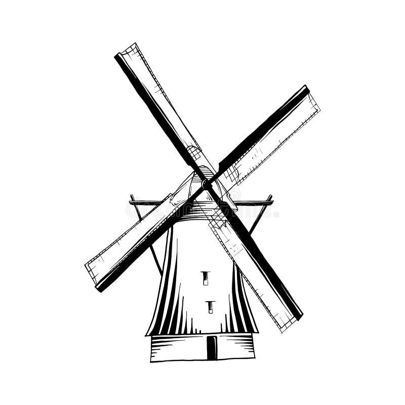 De vector graveerde stijlillustratie voor affiches, embleem, embleem, decoratie en druk Hand getrokken schets van oude windmolen  royalty-vrije illustratie
