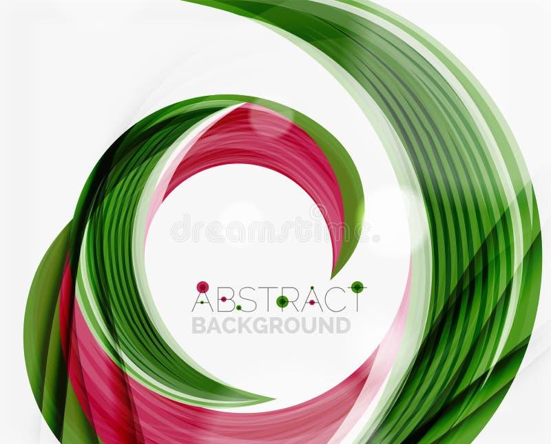 De vector groene abstracte achtergrond van de wervelingslijn royalty-vrije illustratie