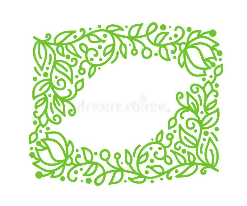 De vector groene monolinekalligrafie bloeit kader voor groetkaart Uitstekende Hand getrokken bloemenmonogramelementen schets stock illustratie