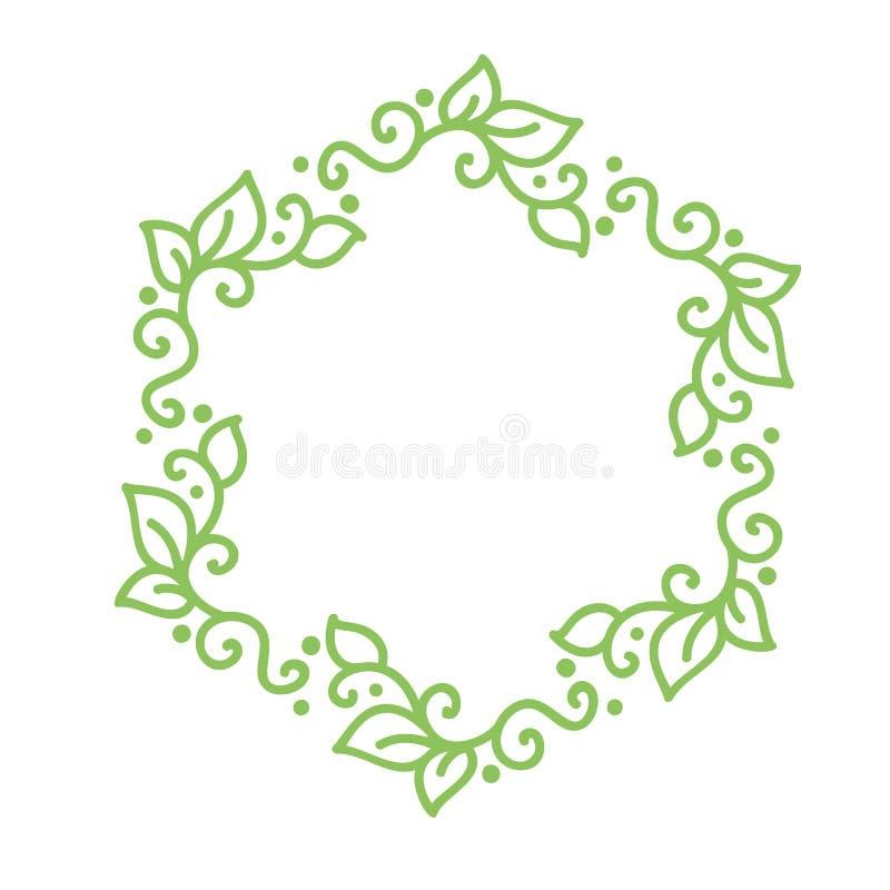De vector groene monolinekalligrafie bloeit kader voor Uitstekende groetkaart Hand getrokken bloemenmonogramelementen schets royalty-vrije illustratie