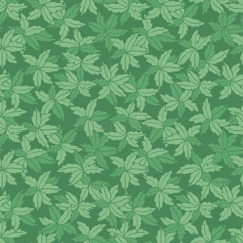 De vector groene monotone hand getrokken bladeren herhalen patroon Geschikt voor giftomslag, textiel en behang vector illustratie