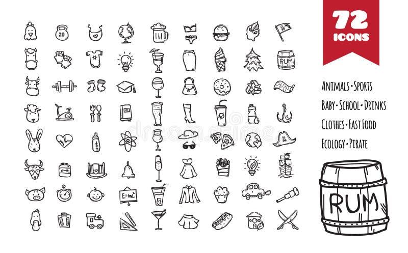 De vector grote geplaatste pictogrammen van de krabbelstijl royalty-vrije illustratie
