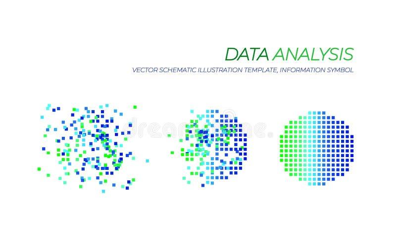 De vector Grote Illustratie van de Gegevensanalyse, Geïsoleerde Technologieelementen royalty-vrije illustratie
