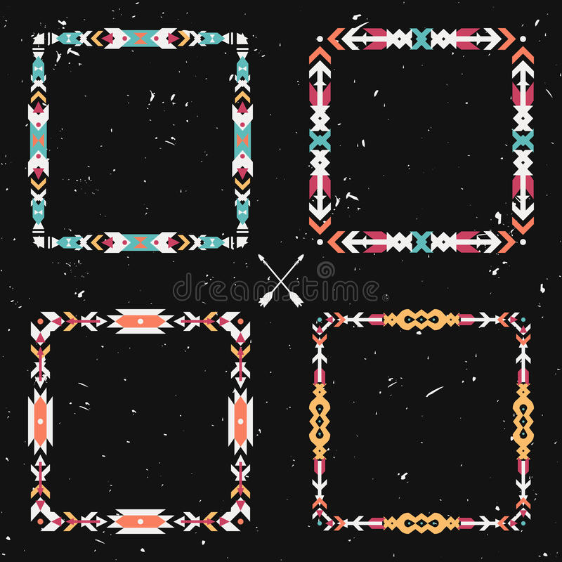 De vector grunge plaatste met abstracte geometrische etnische kaders stock illustratie