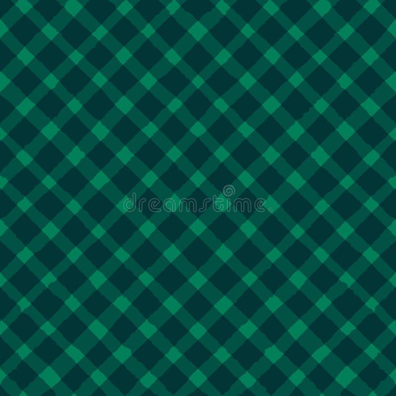 De vector grunge strijkt criss dwars naadloos patroon op de groene achtergrond vector illustratie