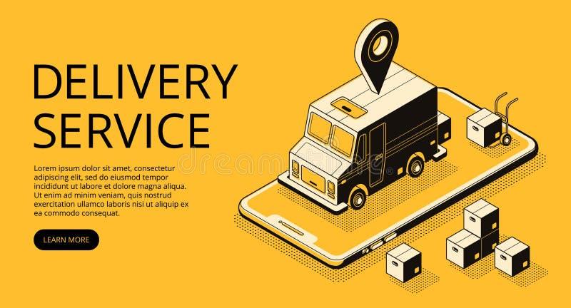 De vector halftone illustratie van de leveringsdienst stock illustratie