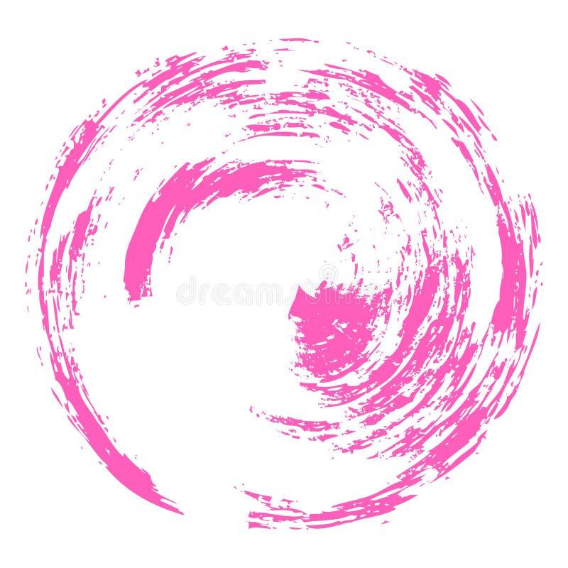 De vector hand-drawn slagen van de waterverfborstel in de vorm van een cirkel van roze kleur op een witte achtergrond royalty-vrije illustratie