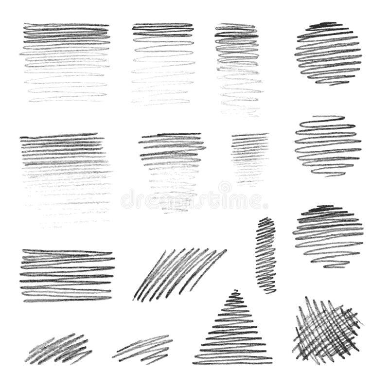 De vector hand-trekt vormen met potloodtextuur royalty-vrije stock foto
