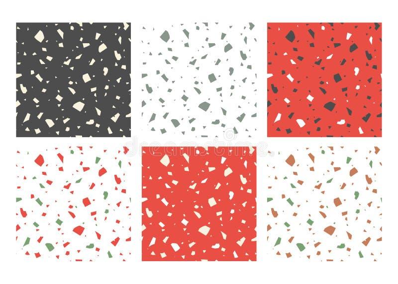 De vector handcrafted document gesneden kleurrijke texturen Italiaans terrazzo, reeks abstracte naadloze patronen stock illustratie