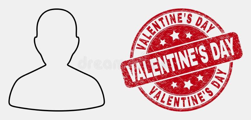De vector het Hartpictogram van de Slagminnaar en Verbinding van de de Dagzegel van Grunge Valentine stock illustratie