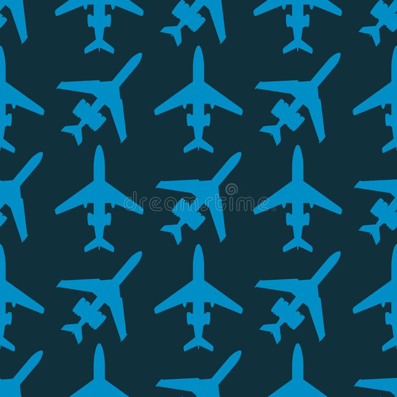 De vector het patroon van het van de achtergrond vliegtuigillustratie naadloze van de de reismanier vliegtuigenvervoer snelheid v vector illustratie