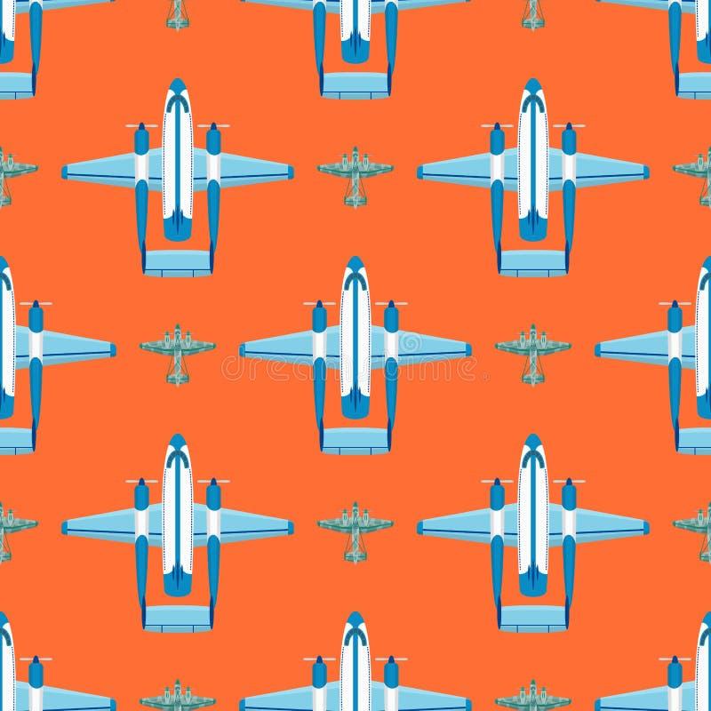 De vector het patroon van het van de achtergrond vliegtuigillustratie naadloze van de de reismanier vliegtuigenvervoer snelheid v royalty-vrije illustratie