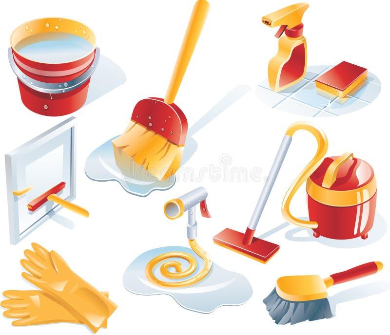 De vector het schoonmaken reeks van het de dienstpictogram royalty-vrije illustratie