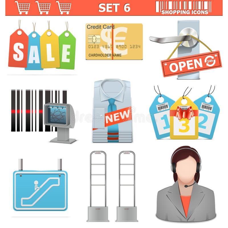 De vector het Winkelen Pictogrammen plaatsen 6 stock illustratie
