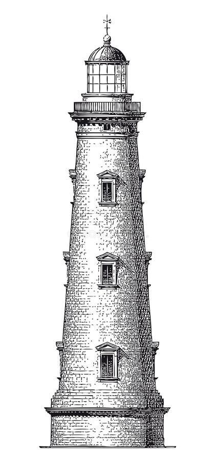 De vector Hoge Gravure van de Detail Uitstekende Vuurtoren stock illustratie