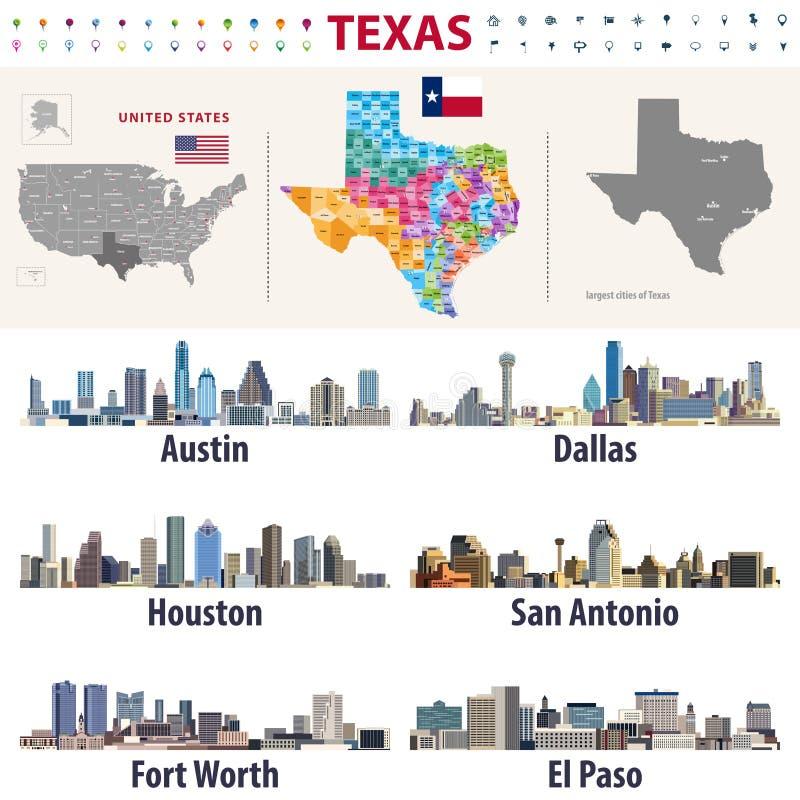De vector hoog gedetailleerde kaart die van Texas ` s de vormingen van provincies tonen Grootste stedenhorizonnen van Texas stock illustratie