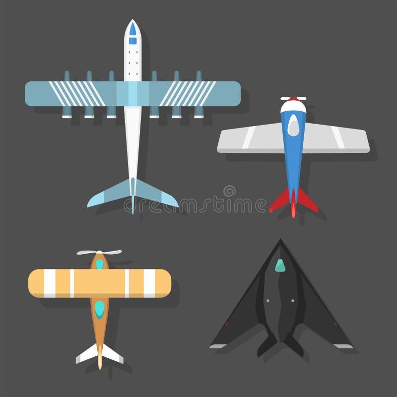 De vector hoogste mening van de vliegtuigillustratie en van de de reismanier van het vliegtuigenvervoer de het ontwerpreis hebben royalty-vrije illustratie