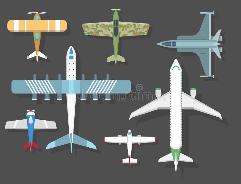 De vector hoogste mening van de vliegtuigillustratie en van de de reismanier van het vliegtuigenvervoer de het ontwerpreis hebben vector illustratie