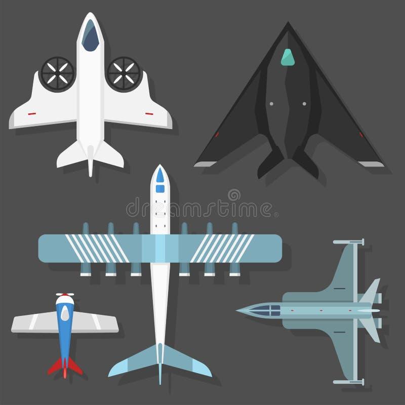 De vector hoogste mening van de vliegtuigillustratie en vliegtuigenvervoer stock illustratie