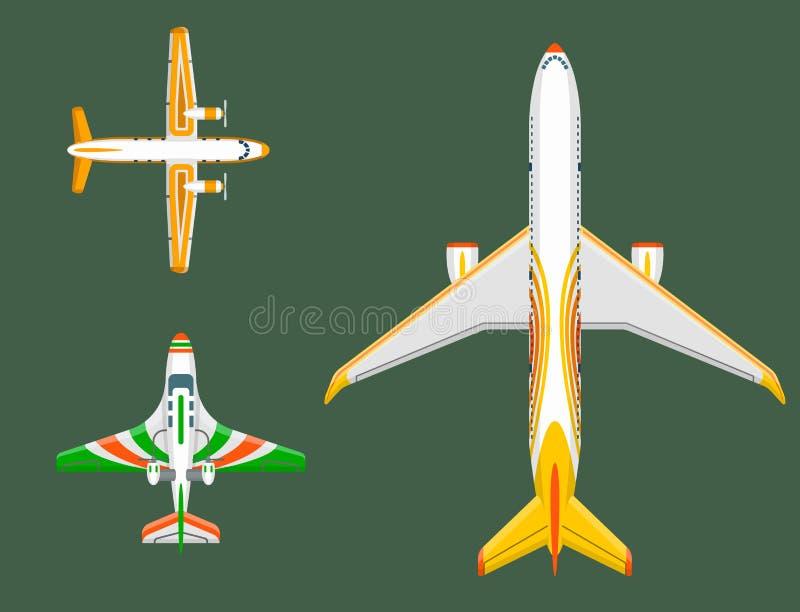De vector hoogste mening van de vliegtuigillustratie en de de reismanier van het vliegtuigenvervoer ontwerpen de luchtvaart van d stock illustratie
