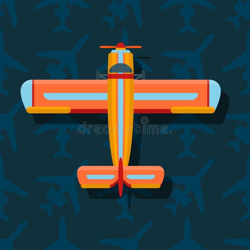 De vector hoogste mening van de vliegtuigillustratie en de de reismanier van het vliegtuigenvervoer ontwerpen de luchtvaart van d vector illustratie