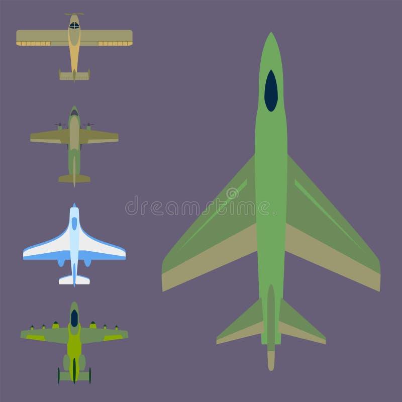 De vector hoogste mening van de vliegtuigillustratie en vliegtuigenvervoer vector illustratie