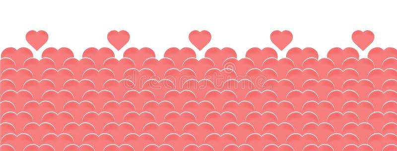 De vector horizontale achtergrond van gelukkige Valentijnskaartendag met ballons in de vorm van harten van roze of het koraal kle stock illustratie