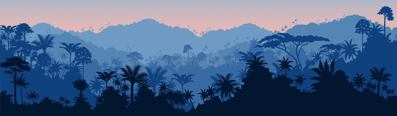 De vector horizontale naadloze blauwe tropische achtergrond van de regenwoudwildernis royalty-vrije illustratie