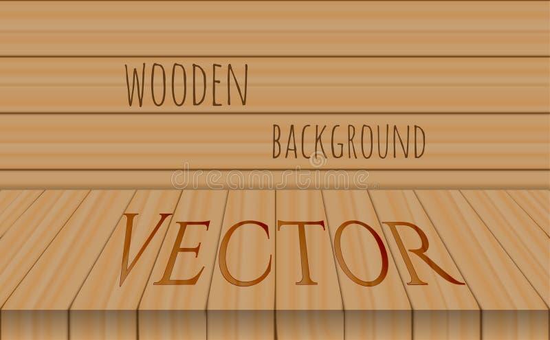 De vector houten bovenkant van de perspectieflijst op eiken achtergrond stock illustratie